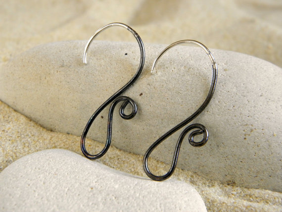 Silver Amp Oxidized Copper Swirly Earwires 1 Pair By