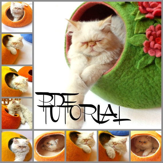 2 In 1 Pdf Tutorial In English Felted Cat Cave And Felted