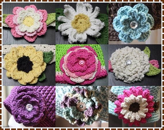 FLOWER Crochet Patterns BUNDLE # 2, 9 Flowers and Leaves ...