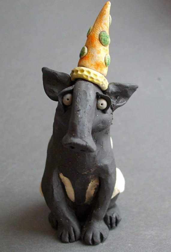 Whimsical Ceramic Tapir With Party Hat Sculpture By