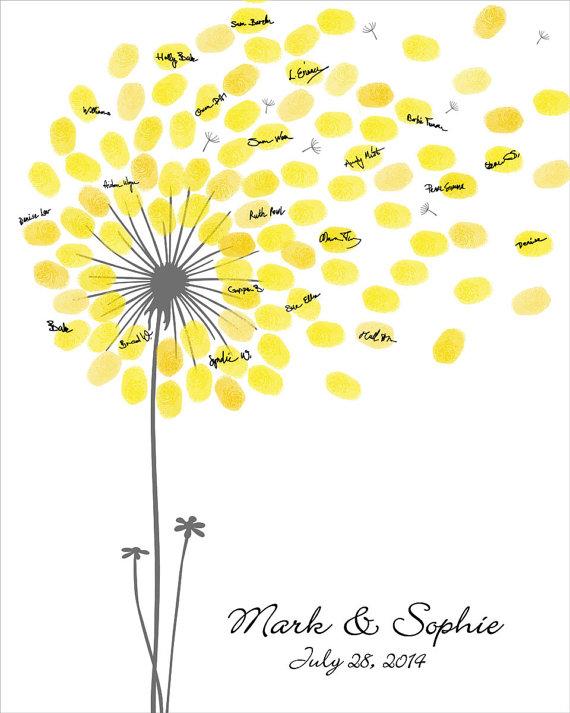 Wedding Guest Book, Dandelion Fingerprint Anniversary Poster, Baby ...