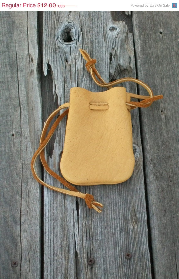 Leather drawstring pouch, Buckskin medicine bag, Ready to ship by thunderrose
