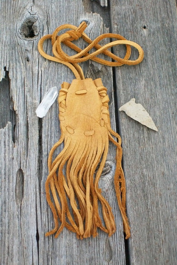 Buckskin medicine bag, Fringed leather pouch, Fringed neck bag, Leather necklace by thunderrose