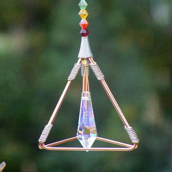 7 Chakras - Pyramid Pendulum / Suncatcher - Swarovski Crystals by windyscreations