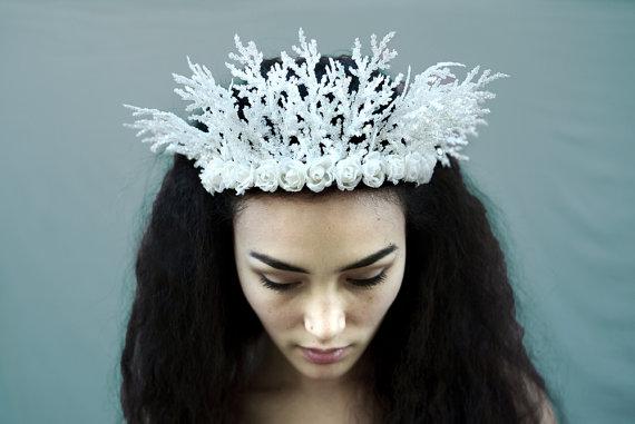 Winter Fairy Crown - Ice Princess - Elsa, Frozen, Crown, Snow Queen, Princess Crown, Snowflake, Ice Crown, White, Winter Woodland, Festivals by BloomDesignStudio