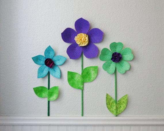 Diy Fabric Flower Wall Art : Flower wall decal girls room nursery decor flowers