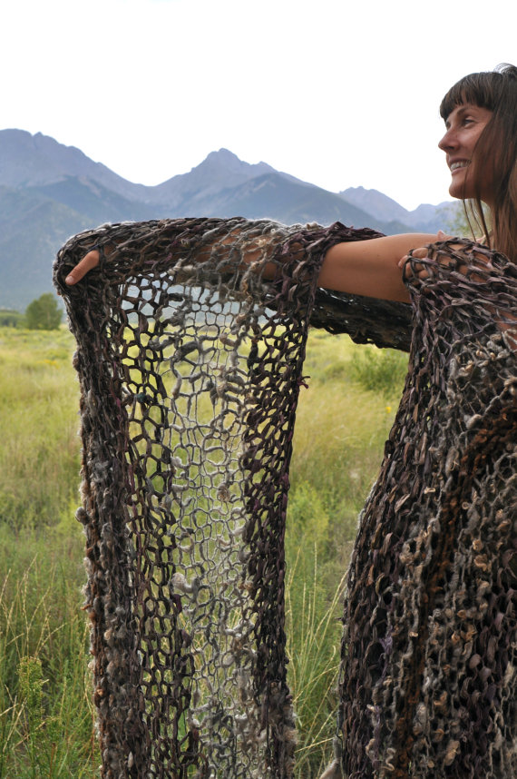 Bulky Silk Soft Knit Blanket Ribbon Sheeps Wool Unique Rustic Handspun Yarn Handknit Funky Wild OOAK Throw Art Decorative bedding by YOSPUN