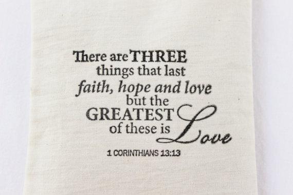 Faith Hope Love Lavender Sachet, 1 Corinthians 13 Bible Verse, Unique Christian Wedding Favor, Wedding Gift by Gardenmis