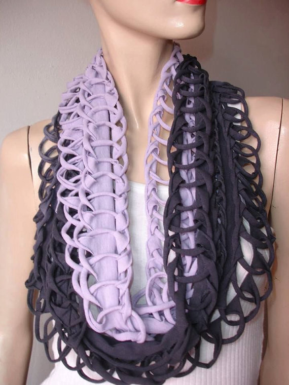 eternity scarf. womens shredded braided cotton jersey tshirt scarf, infinity scarf, eternity scarf. loose weave. black and lavender ombre by JohnnyVegasOriginals