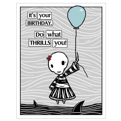 Ennui Birthday Thrill GingerDead Goth Alternative Greeting Card With Envelope Comic Humor By