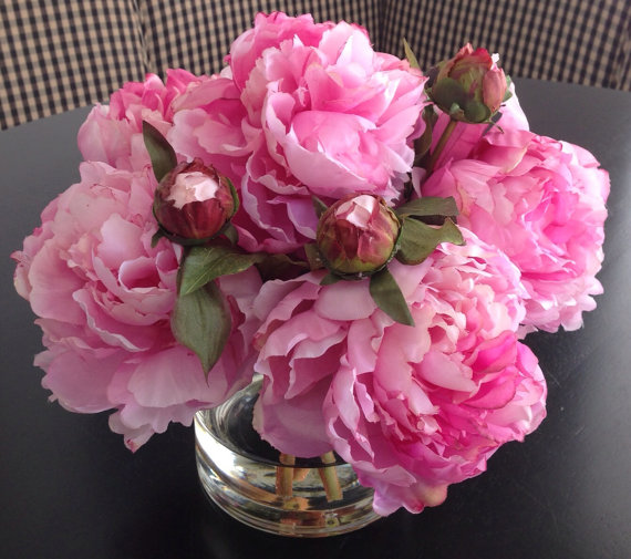 Fine Silk Floral Arrangement Faux Pink Peonies In Round Vase with Illusion Faux Water by SkyDesignsUSA