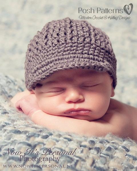 Crochet PATTERN - Boy Hat Crochet Pattern - Crochet Newsboy Hat Pattern - Crochet Hat Pattern - Baby, Toddler, Kids, Adult Sizes - PDF 108 by PoshPatterns
