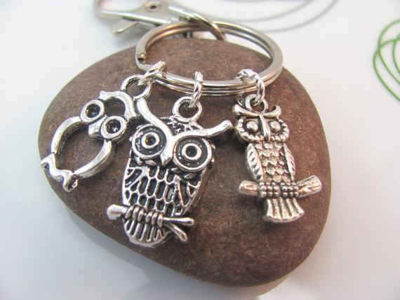 Owl Keychain silver owl keyring Three mini owls charms with swivel clasp owl bag charm metal owl keychain by GonzalezGoodies