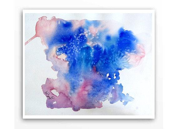 Abstract Art Original Watercolor Original Painting Ink blot psychoanalysis art Small abstract blue painting Lyrical modern Wall art 13 x 10 by WatercolorByMuren