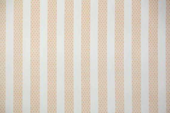 1940s Vintage Wallpaper Orange and White Stripe by HannahsTreasures