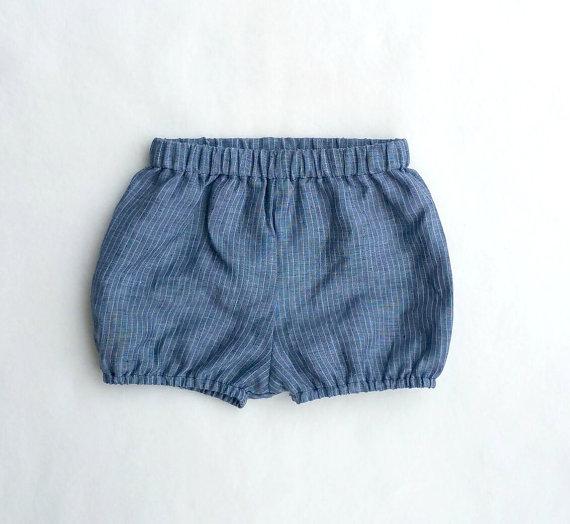 Boy shorties, Blue Diaper Cover, Linen, Vintage Style, Pinstripe Bloomers, Blue Shorties, Bloomers, Baby Boy Prop, Gender Neutral by fourtinycousins