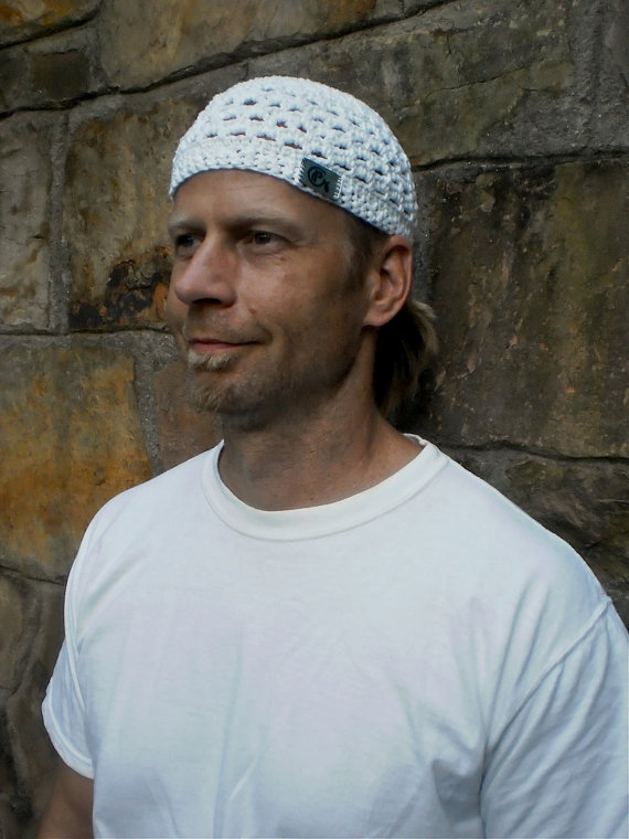 MENS white KUNDALINI SADHANA beanie crochet cotton beanie hat white Kufi hat skullcap White hat for men by GPyoga