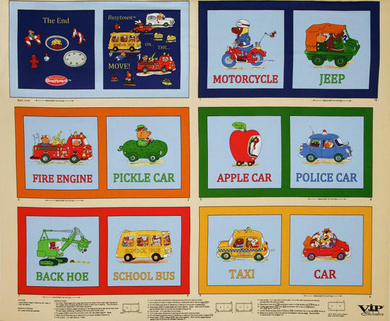 A Wonderful Richard Scarry Busytown Book Fabric Panel Free US Shipping by CountryCharmFabrics