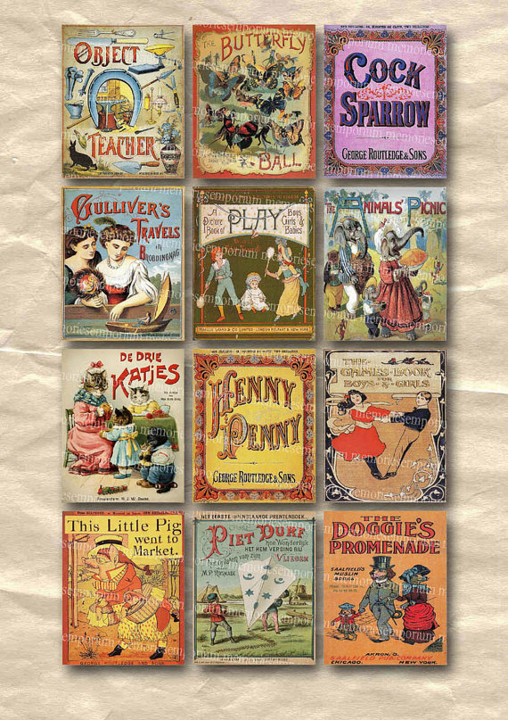 Childrens Story Book Covers Old Vintage Kids Picture Scrapbooking Decoupage Digital Collage Sheet Instant Download 037 by memoriesemporium