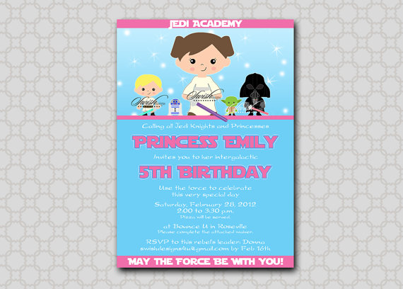 Star Wars Birthday Invitation For Girls Invite Digital Printable DIY By SwishPrintables