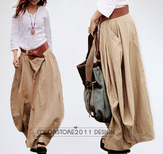 Cool Baggy Maxi Skirt Linen cotton Skirt Day dress Summer Trendy Long Skirt Maxi Dress In Khaki blue green blue- qz31,S M L by colorstore2011