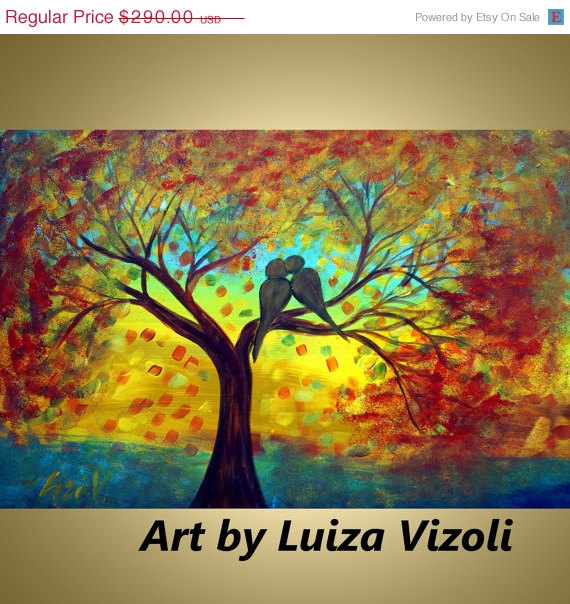 Abstract Original Painting Fall Tree Landscape Love Birds Art SEPTEMBER RAIN by Luiza Vizoli Free Shipping by LUIZAVIZOLI