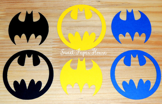 100 Batman Die Cuts - 3 Inch - Black, Yellow, Blue (Cardstock, Super Hero, Superhero, Batman Baby Shower, Batman and Robin, Batman Wedding) by SweetPaperHouse