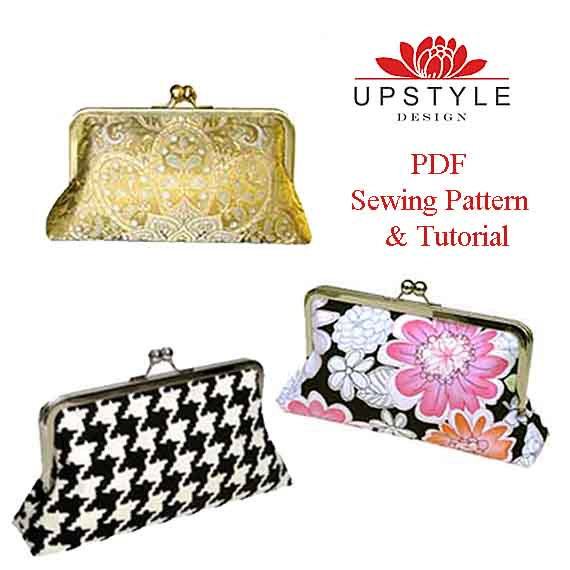 Digital Download PDF Sewing Pattern – Classic Style Clutch Purse – Pattern Detailed Instructions Color Photos by UPSTYLE by Upstyle
