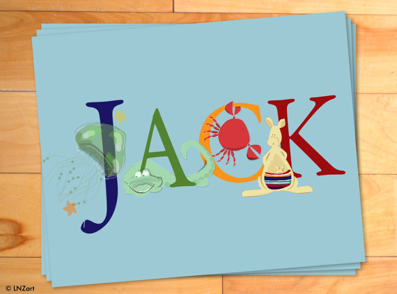 Personalized Thank You Cards, Childrens Thank You Notes, Personalized Notecards, Animal, Alphabet, ABC, Custom Name, Set of 12 by LNZart