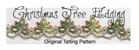 Christmas Tree Edging with Corner - TATTING PATTERN by LaCossette