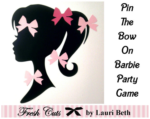 Pin the Bow on Barbie Silhouette Party Game by FreshCutsbyLauriBeth
