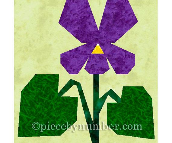 Violet flower quilt block, paper pieced quilt patterns instant download PDF patterns, flower quilt patterns, flower patterns, violet pattern by PieceByNumberQuilts