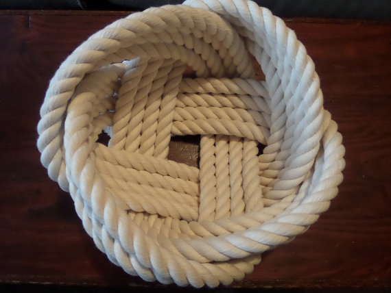 Nautical Decor Cotton Rope Bowl Basket 7 x 5 & quot; Knotted off white by AlaskaRugCompany