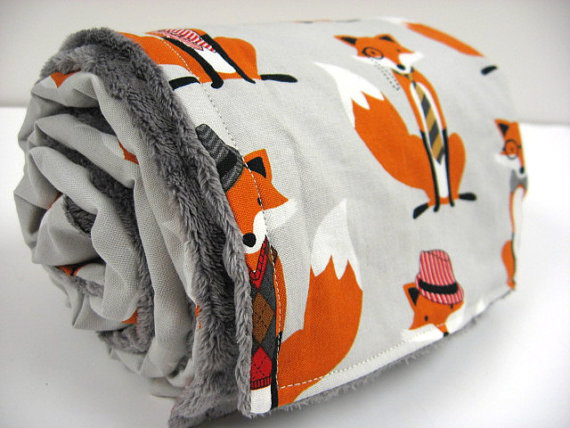 Dapper Fox Minky Dot Baby Blanket by BixbyBasil