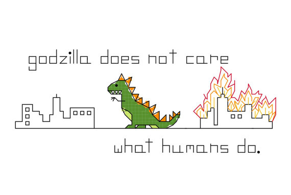 Cross Stitch Patterns – Godzilla does not care what humans do, in 2 versions, burning down Manhattan and Brooklyn NYC, or a generic city by aliciawatkins