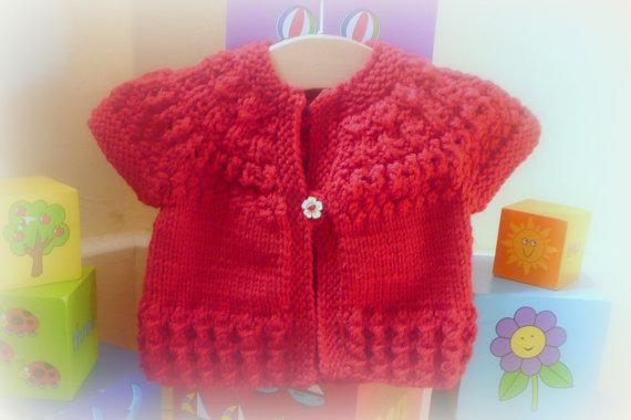 Knitting Pattern Seamless Top Down Baby Girl Cardigan Jacket Sweater