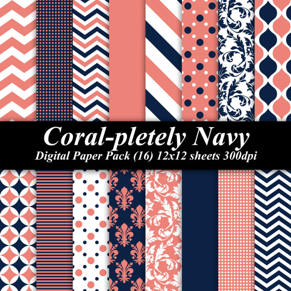 Coral-pletely Navy Digital Paper Pack (16) 12x12 sheets 300 dpi scrapbooking invitations birthday blue orange wedding chevron by DelightfulDigitals