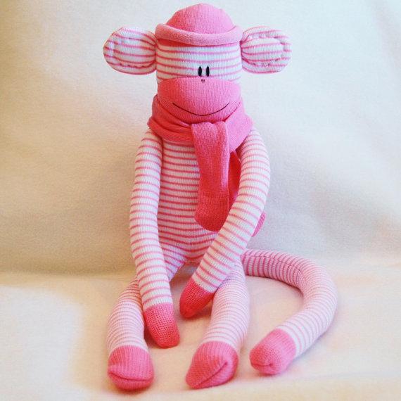 Sock Monkey Kit Pink And White Stripes Craft Kit Stuffed Animal