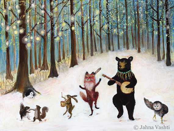 12 pack, Greeting cards, New Years, Christmas cards, Forest animals, woodland winter, woodland animals by JahnaVashti