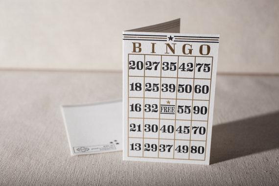 Letterpress & Foil Stamped Greeting Card - Bingo, bamboo paper, kraft paper envelope, CF4-49 by smockpaper