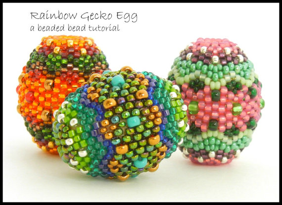 Beaded Bead tutorial by Sharri Moroshok - Rainbow Gecko Egg - peyote stitch - instant download pdf with photos and step by step instructions by TheBeadedBead