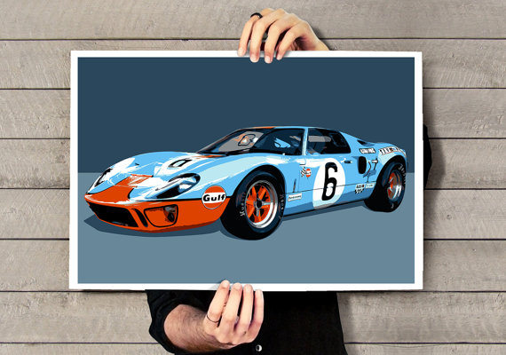 Automotive, Car Art, illustration, Vintage race car art print of a Ford GT40 sports car, Poster size print available in multiple sizes. by MediaGraffitiStudio