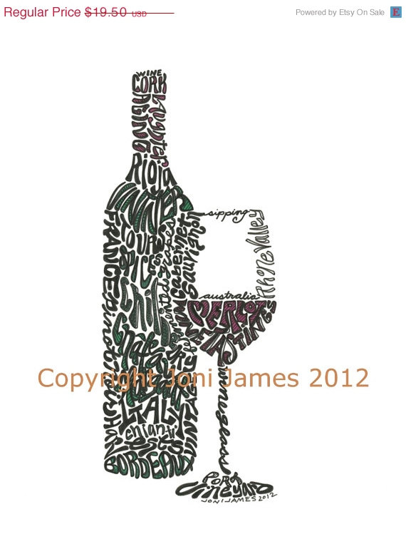 SALE Hand Drawn Wine Bottle Art Word Art, Wine Art Typography Drawing or Wine Calligram Kitchen Word Art, Wine Theme Kitchen Decor, Wine Gif by CalligramORama