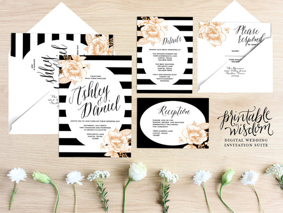 Printable Wedding Invitation Suite Fl Invite Stripes Gold Rustic Rsvp Card Diy Digital Set Wisdom By