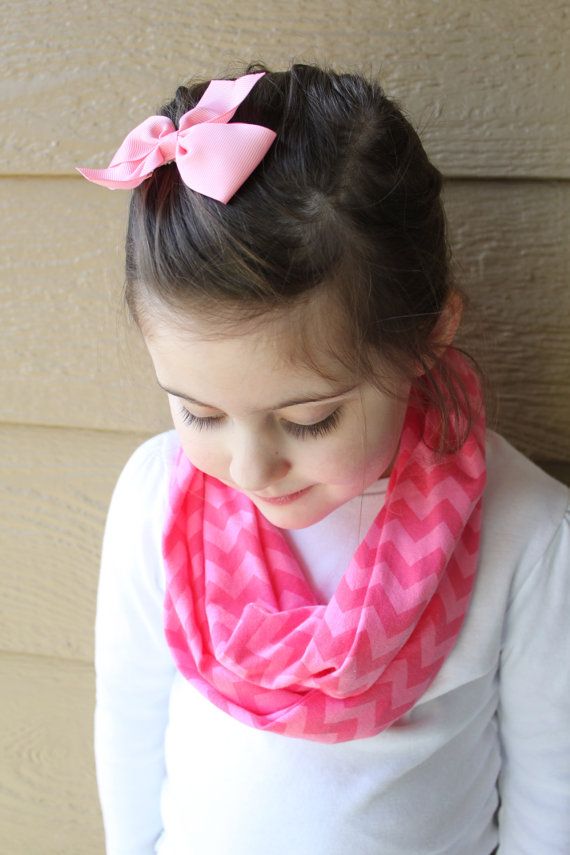 Little Girl's Chevron Infinity Scarf – Pink on Pink Chevron Spring Scarf – Pink Toddler Scarf – Knit Scarf – Little Girl Easter Basket Gift by ckstitches