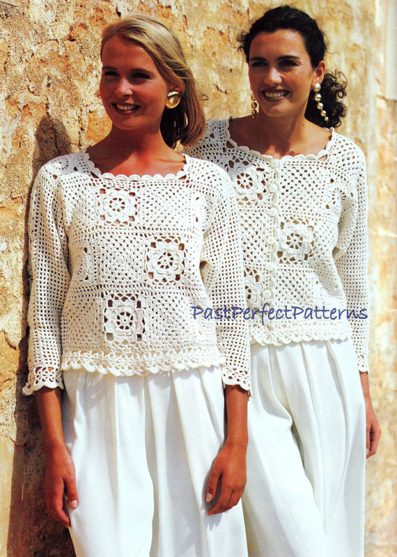 Instant Download Pdf Vintage Crochet Pattern Granny Square Tops