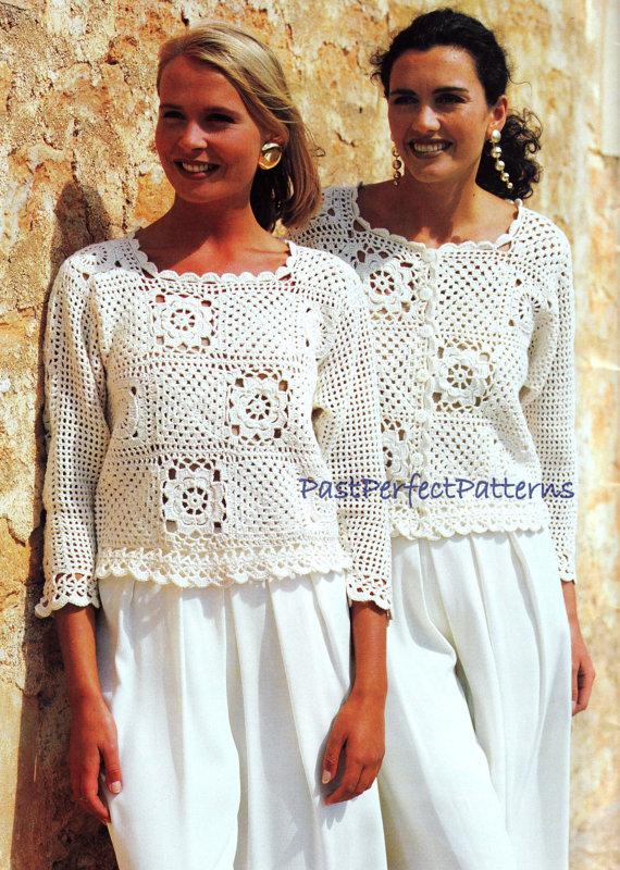 INSTANT DOWNLOAD PDF Vintage Crochet Pattern Granny Square Tops Sweater Jacket Vest Top by PastPerfectPatterns