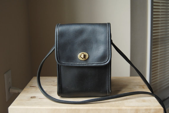 Authentic Vintage Coach Scooter Bag - Made in USA - Black Leather Small Crossbody Bag by whatnomints
