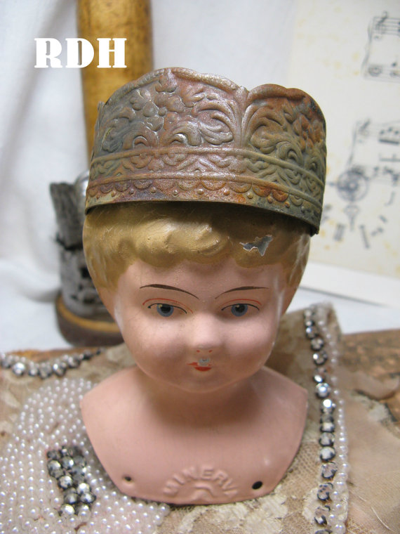 Rusty shabby crown santos art dolls cage doll decor by shadesofakasha