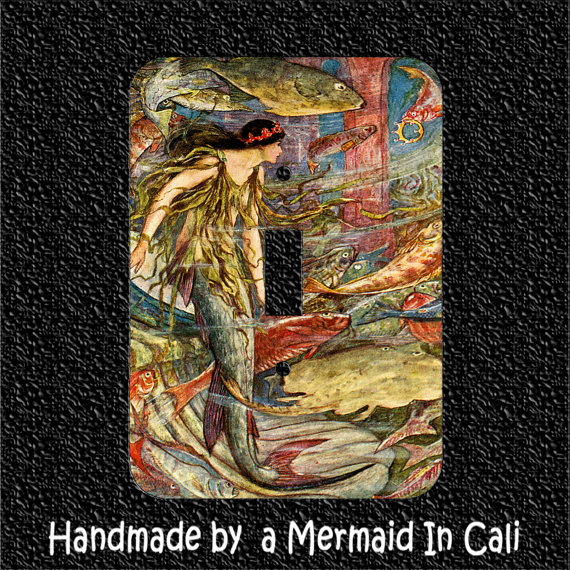 Light Switch Plate Cover- Victorian Mermaid and Sea Life by Mermaidincali